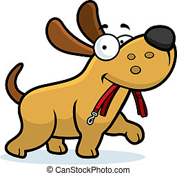 Cartoon Dog Leash - A cartoon dog walking with a leash in...