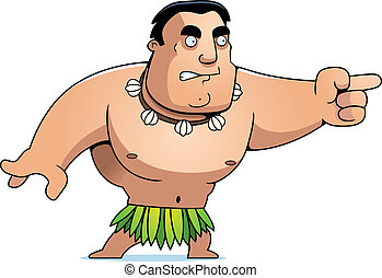 Cartoon Islander Angry - A cartoon islander man angry and...