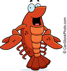 Cartoon Crawfish Smiling - A cartoon red crawfish smiling...