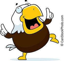 Bald Eagle Dancing - A happy cartoon bald eagle dancing and...
