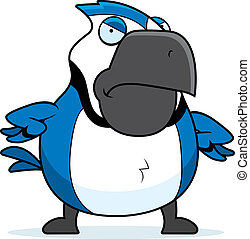 Cartoon Blue Jay Angry - A cartoon blue jay with an angry...