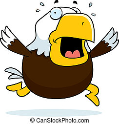 Cartoon Bald Eagle Panic - A cartoon bald eagle running in a...