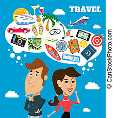 Travel dreams scene - Business life cheerful woman and man...