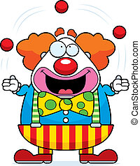 Cartoon Clown Juggling - A happy cartoon clown juggling and...