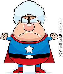 Superhero Grandma Angry - A cartoon superhero grandma...