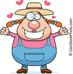 Farm Girl Hug - A happy cartoon farm girl ready to give a...