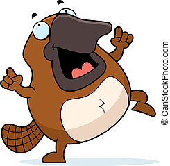 Cartoon Platypus Dancing - A happy cartoon platypus dancing...