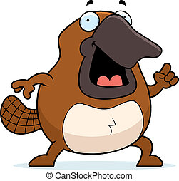 Cartoon Platypus Idea - A happy cartoon platypus with an...