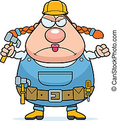 Construction Worker Angry - A cartoon woman construction...