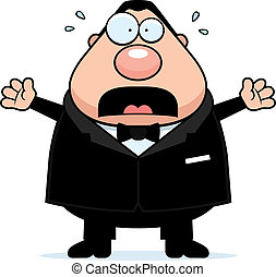 Cartoon Groom Scared - A cartoon groom with a scared...