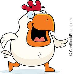 Cartoon Rooster Walking