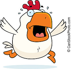 Cartoon Rooster Panic - A cartoon rooster running in a...