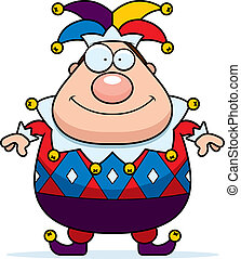 Cartoon Jester Smiling - A cartoon jester standing and...
