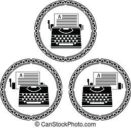 set of typewriters. stencils