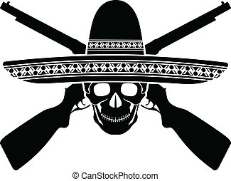 skull of mexican warrior vector illustration
