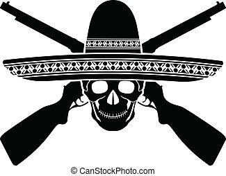 skull of mexican warrior. vector illustration