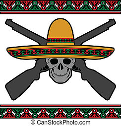 skull with sombrero and guns