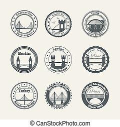 Bridge label set - Bridge architecture city landmark harbor...