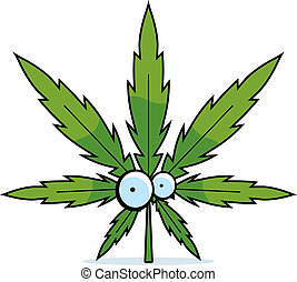 Cartoon Marijuana Leaf - A green cartoon marijuana leaf with...