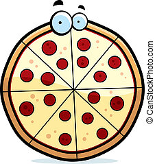 Cartoon Pizza Pie - A cartoon pepperoni pizza pie with eyes.