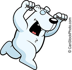 Cartoon Polar Bear Attacking - A cartoon polar bear running...