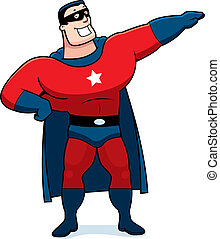 Cartoon Superhero Man - A cartoon superhero man in a red...