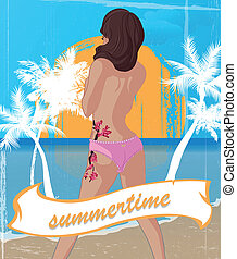 summertime - Poster of a got in up girl in summertime and...