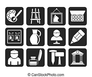 Fine art objects icons - Silhouette Fine art objects icons -...