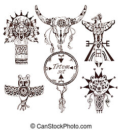 Ethnic american totems set - Ethnic american tribes animal...