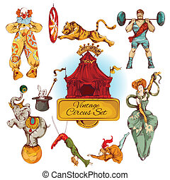 Circus vintage colored icons set - Decorative circus magic...