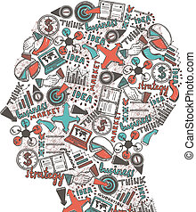 Human head with icons - Human head made of business strategy...