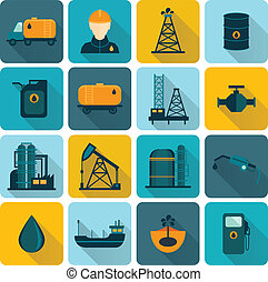 Oil Industry Flat Icons - Oil extraction refining and...