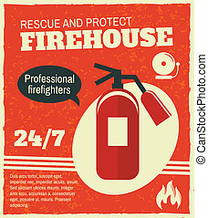 Firefighting retro poster - Firefighting rescue and...
