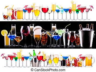 ensemble, différent, alcoolique, boissons, cocktails