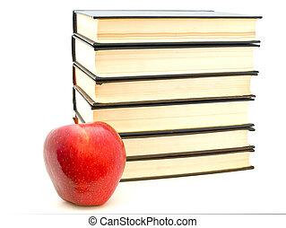 apple near the books