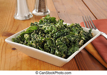 Kale salad with cashews, tamari and sesame seeds