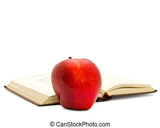 apple near the book