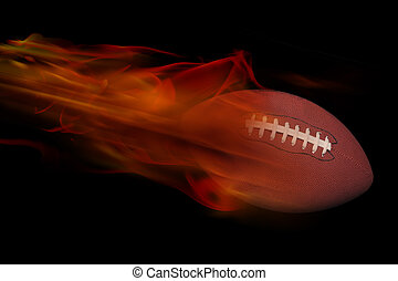 Football on Fire - Football on fire after a long throw.