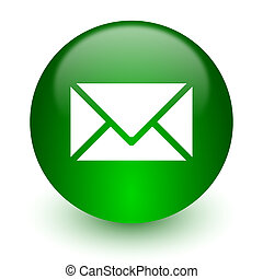email icon - green glossy web icon