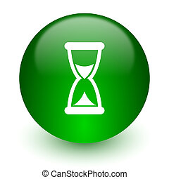 time icon - green glossy web icon