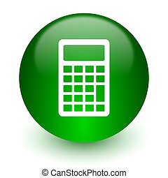 calculator icon - green glossy web icon