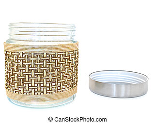 glass jar - open glass jar against the white background