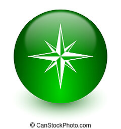 compass icon - green glossy web icon
