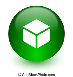 box icon - green glossy web icon