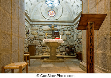 Inside of a Baptistery Crypt - Baptismal Font Inside of...