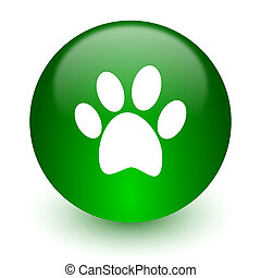 foot icon - green glossy web icon