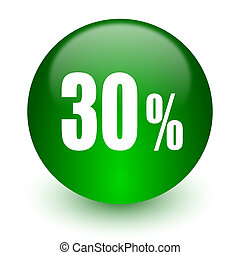 30 percent icon - green glossy web icon