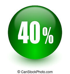 40 percent icon - green glossy web icon