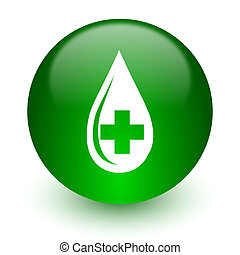 blood icon - green glossy web icon