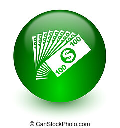 money icon - green glossy web icon